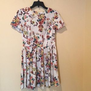 Topshop Pixelated Floral Print Dress